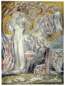 William Blake, The Spirit of Plato Unfolds His Worlds to Milton in Contemplation